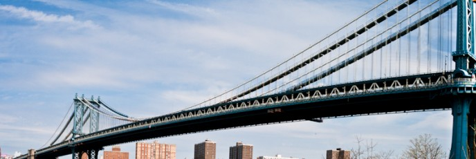 ALTPanoramic view of the Manhattan Bridge from Brooklyn, NY